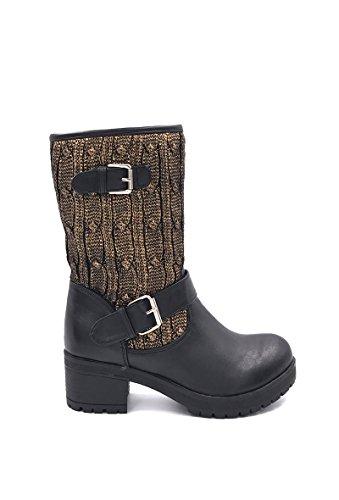 CHIC NANA . Chaussure femme botte en similicuir, tricot épais tour de cheville.