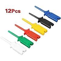 12pcs 6 colores pequeño gancho de la prueba Grabber clip, Sonda único para PCB SMD IC multímetro Cable DIY