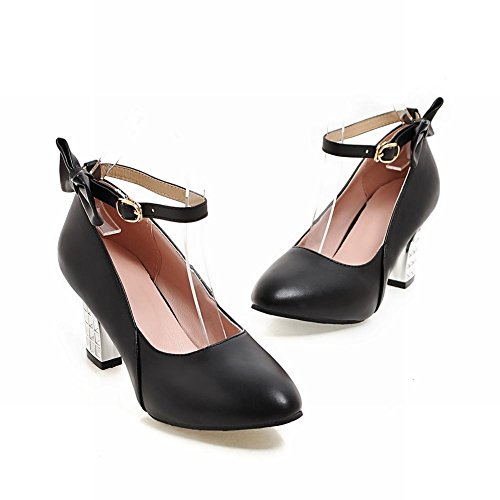 Mee Shoes Damen Chunky Heels Ankle Strap Schnalle Pumps
