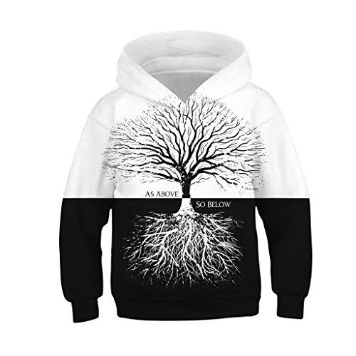 Amphia - (4T-13T Sport-Sweatshirt für Kinder - Große Baseballbekleidung - Teen Kids Mädchen Jungen Galaxy Fleece Print Cartoon Sweatshirt Tasche Pullover Hoodie(Weiß,XS)