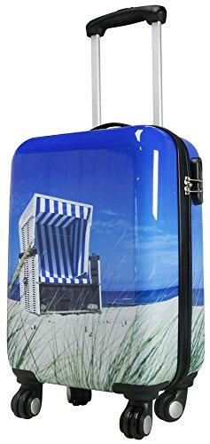 1 Koffer mit Teleskopgriff und integriertem Zahlenschloss Motiv Strandkorb Hartschalenkoffer Koffer Größe S Polycarbonat Trendyshop365