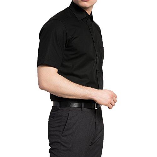 eterna Kurzarm Hemd Modern Fit Popeline Unifarben Schwarz
