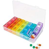 Preisvergleich für Pillendose für 7 Tage, Pillendose mit 21 Fächern, tragbar, Pillendose für Medikamente, Medikamentendosierer, Vitamin-Organizer...