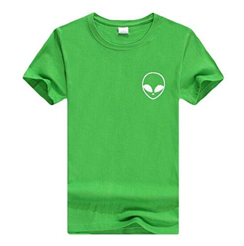 YouPue Damen Aliens Druck Kurzarm T Shirt Sommer Crop Tops Tee Bluse Freizeit Grün#2