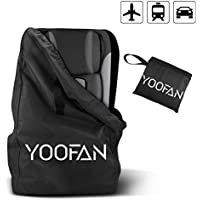 YOOFAN Gate Check Travel Bag with Backpack Shoulder Straps for Strollers, Car Seats, Pushchairs, Boosters, Infant Carriers and Wheelchairs, Water Resistant - Great for Airplane and Storage (Black)