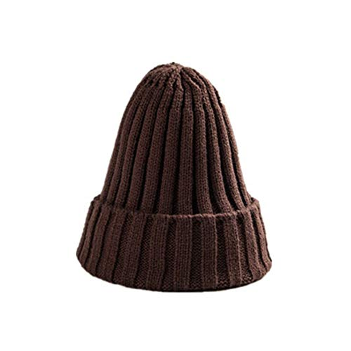 PinzhiMänner Frauen Beanie Knit Ski Cap Hip-Hop Einfarbig Winter Warm Unisex Wollmütze (Kaffee)