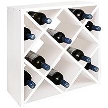 Sistema botellero modular ROMBO, teñido blanco, máx. 24 botellas, apilable / ampliable - alt. 52 x anch. 52 x pr. 25 cm