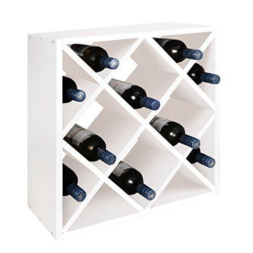 Weinregal / Flaschenregal System Raute, Holz Kiefer, Weiß, stapelbar / erweiterbar, für 24 Fl. - H...