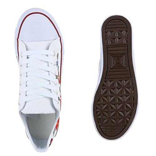 Damen Herren Kinder Unisex Schuhe Sneaker low Top Schnürschuh Halbhoch Weiss Flower