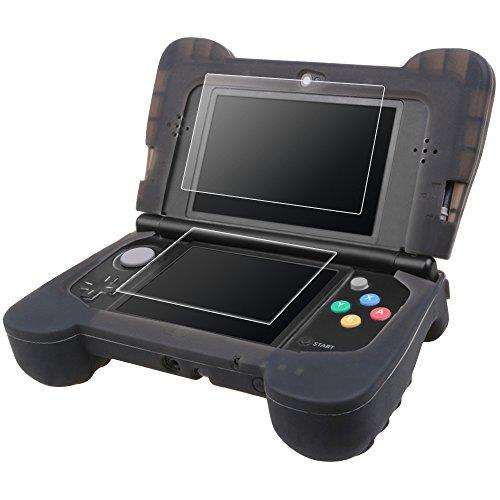 Preisvergleich Produktbild Schutzhülle für New Nintendo 3DS XL mit Displayschutzfolien, FineGood Silikonhülle mit Komforthandgriff, 2 Stk. Gehärtetes Glas für Top Screen und PET Folie für den unteren Bildschirm