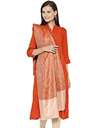 Weavers Villa - Women's Orange Kashmiri Cashmilon Shawls,Stoles
