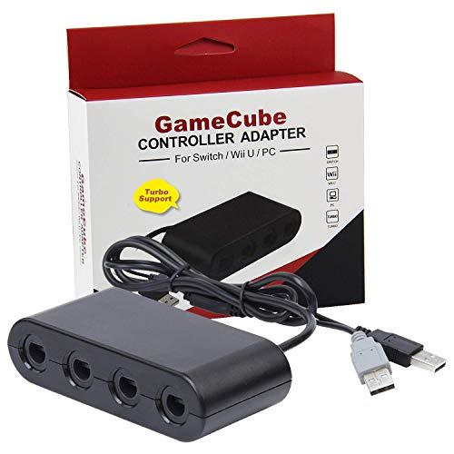 Gamecube Controller Adapter Switch Wii U PC 4 Ports 2018 Version Turbo Mode kein Treiber notwendig bietet Super Smash Bros Spielerfahrung (Wii U Mit Super Mario Bros)