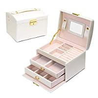 JOJJJOJ Jewellery Box Jewellery Oganiser Three Layers PU Leather Jewelry Storage Box with Mirror and Lock for Girls and Women