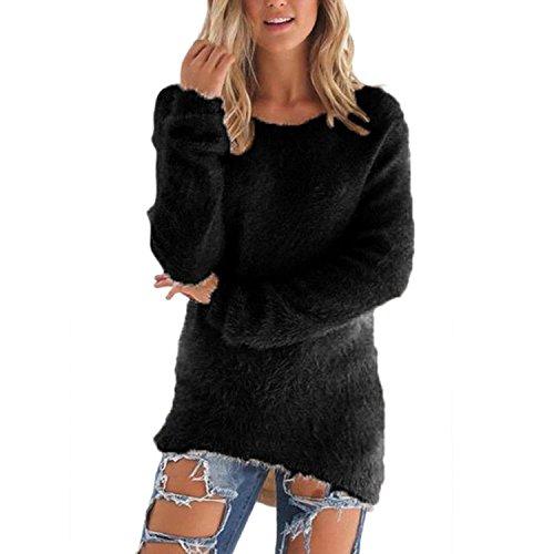 Hikenn Damen Warme Wollmischung Langarm Pullover Hüfte Länge Pullover Tops Bluse (S, Schwarz)