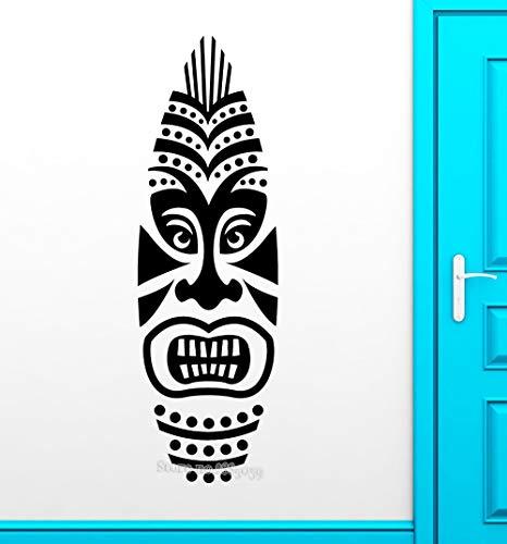 Tiki Maske Wandaufkleber Abnehmbare Vinyl Aufkleber Afrika Stil Design Moderne Wandtattoos Tür Halle Sofa Hintergrund Dekor Wand 56X177 cm -