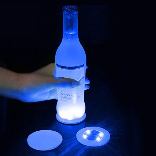 NANAD Flaschenlichter, LED-Untersetzer, 3 Modi, 4 Lichtfarbwechsel-Aufkleber, Untersetzer für Weinflasche, durchsichtiges Glas, batteriebetriebene Lichter für Partys, Hochzeit, blau, Free Size