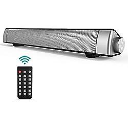 Soundbar Barre de Son TV, GIARIDE Bluetooth 4.1 Haut-Parleur Filaire et sans Fil Speaker stéréo HD Audio avec Télécommande, Prise auxiliaire 3,5 mm, Emplacement pour Carte TF pour PC, téléphone
