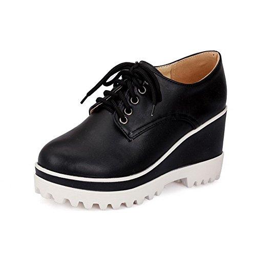 AgooLar Femme Rond Lacet Pu Cuir Couleur Unie Chaussures Légeres Noir