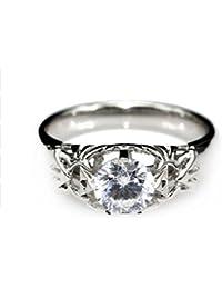 GOWE redondo 1 CT moissanites solitario anillo de la leyenda de zelda Trifuerza inspirado en 9