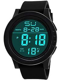 Rawdah Hombres de moda LED de pantalla táctil digital día de silicona reloj de pulsera C