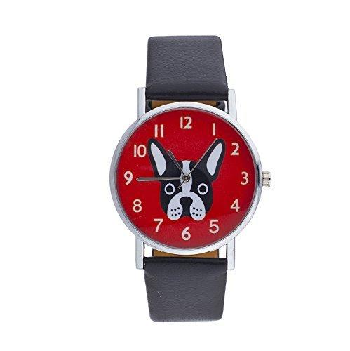 LUX Zubehör Schwarz Rot Silber Ton PU Leder Bulldog Face Kitschy Armbanduhr (Hippie-windel-taschen)
