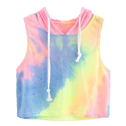 OverDose Frauen Art und Weisedruck mit Kapuze Ernte Sleeveless T-Shirt Tops Blau