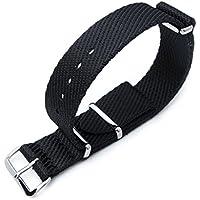 MiLTAT 20mm G10NATO Militare Cinturino Fascia da braccio, in nylon, lucido, colore: nero opaco