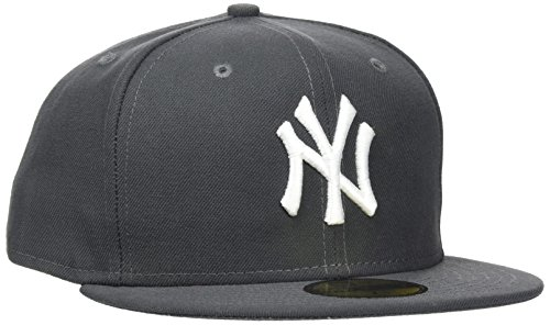 New Era Erwachsene Baseball Cap Mütze Mlb Basic New York Yankees 59Fifty Fitted, Grau (graphite),  7 1/2inch - 60cm, 10010761 (Brown Cap Fitted)