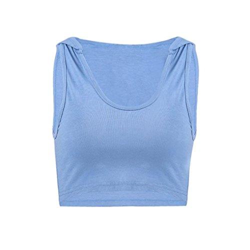 Blusen & Tuniken für Crop Tops Damen,Traumzimmer Vest Top Blouse Frauen MäDchen Mode - Kapuzen - Sport - Weste äRmellose Tank Tops Weste Bluse Pflanzlichen (Blau, S)