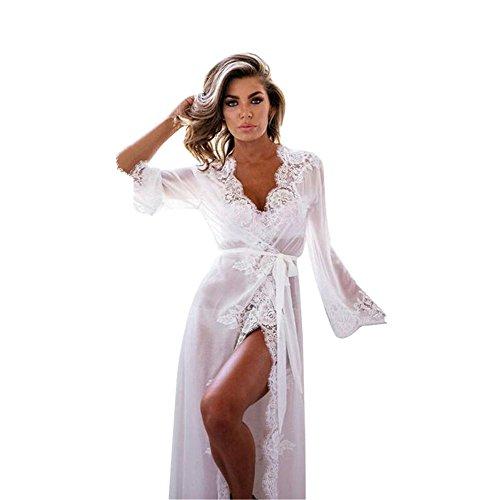 #OVERMAL Damen Nachthemd Nachtkleid Spitze Nachtwäsche Bra Strap Unterwäsche Dessous Negligees (L, Weiß)#
