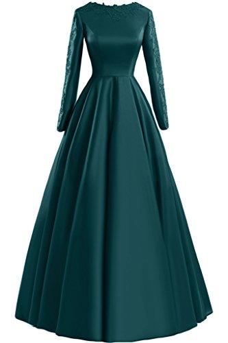 Sunvary Glamour Neu Rund Langarm Satin Applikation 2015 Mutterkleider Abendkleider Lang Partykleider Inkblau