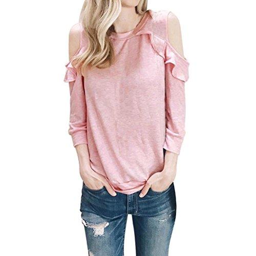 Damen Slim Fit Tops,Sannysis Lange Ärmel T-shirt Blouse (XL, Rosa)