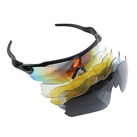 polarisées Cyclisme Lunettes de soleil femme homme Mode monture UV400protection Lunettes de sport avec 5objectifs pour le vélo d'équitation Conduite Pêche Courir Golf Baseball Voyage activités de plein air, noir
