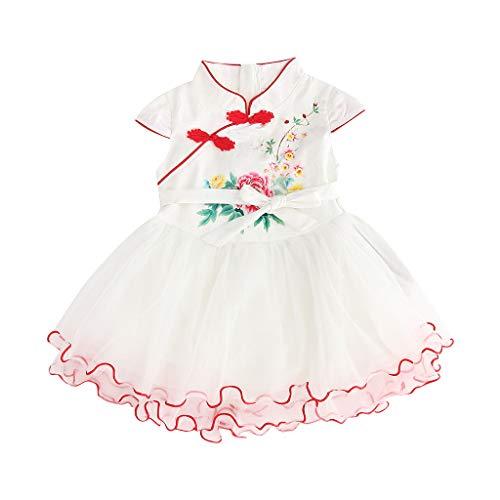 UOMOGO Abito da Battesimo Bambina in Pizzo Costume da Cerimonia per Principessa in Fiore in Pizzo con Fascia Cheongsam Ragazza Porcellana Floreale Eleganti Arco Vestiti 1-5 Anni
