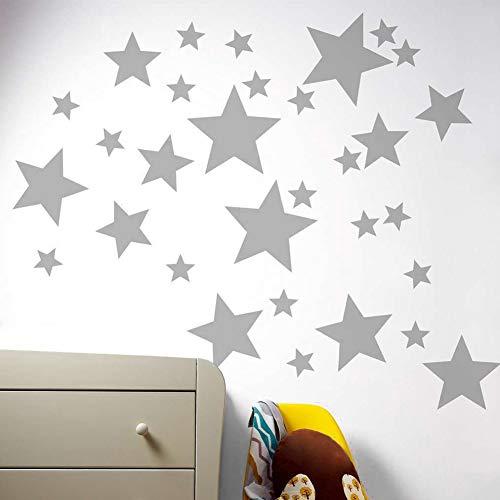 FADDR Wandaufkleber 55 Teile/Satz ungiftig Fensterglas Selbstklebende ergarten Vinyl Verschiedene Größe Einfach Paste PVC Dekorationen Baby Stern Muster Kunst Geschenk Schlafzimmer() -