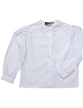 Uniforme scolastica da ragazza, bianca a maniche lunghe con colletto in pizzo, camicetta corta, taglie 24-36