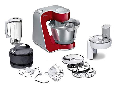 Bosch MUM5 MUM58720 CreationLine Küchenmaschine (1000 W, 3 Rührwerkzeuge Edelstahl, spülmaschinenfest, Rührschüssel 3,9 Liter, max Teigmenge 2,7kg, Durchlaufschnitzler 3 Scheiben, Mixaufsatz) rot