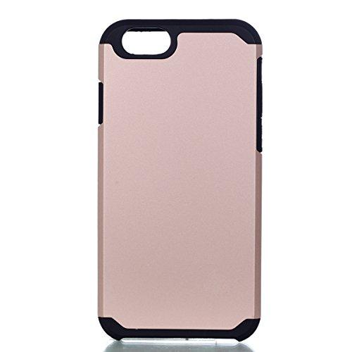 Per iphone 6 6S 4.7 pollici Custodia, Ekakashop di lusso Hybrid Heavy Duty antiurto morbido silicone Gel & Rigida PC 2-in-1 non Layer antiscivolo Anti-dirt Protezione Protettivo Cover Case per Apple i Rosa