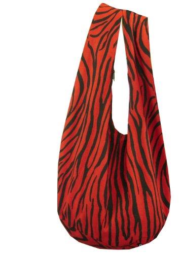 BenThai Products BTP! Schultertasche mit Zebramuster, Hippie, Hobo, thailändische Baumwolle, Zigeunerbau, Bohemian-Stil, groß, (rot), Large - Zebra Hobo Handtasche