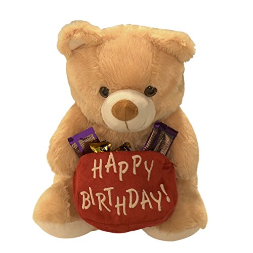 Ultra Happy Birthday Pouch Holding Teddy, Red