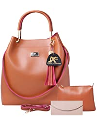 Speed X Fashion Women's Handbag And Shoulder Bag With Sling Bag 3-Combo(SKT-Tan)
