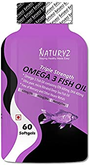 Naturyz Triple Strength Omega 3 Fish Oil 1400mg with 1000mg Omega 3 (600Mg EPA & 400Mg DHA) - 60 Soft