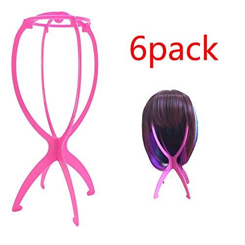 TopWigy Perücke Ständer Tragbare Falten Plastik Perückenständer Halter beweglicher Perücke-Standplatz Perücke Trockner (6stk Rosa)