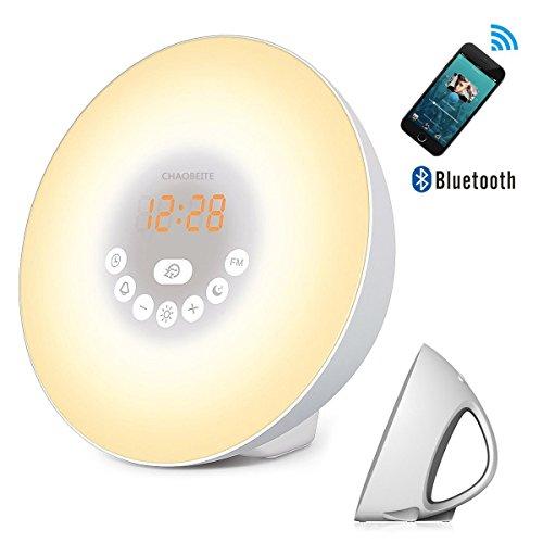 Wake Up Light Wecker Lichtwecker/Wake-Up Aufwachen Licht/Touch-Steuerung Wecktöne/Digitales FM Radiowecker/Nachtlicht/Bettseite Licht/Bluetooth Lautsprecher Mit Snooze Funktion 7 Natürlichen 6 Naturgeräusche 10 Helligkeitsstufe (15 LED + Bluetooth)