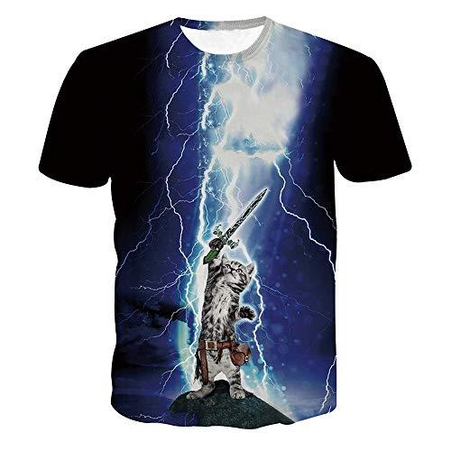 IMJONO Männer T-Shirts Top Lustige Jungen Männer 3D Print Sommer Kurzarm Lightning Cat Shirts Top Bluse XL(X-Large,Blau)