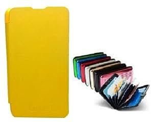 KolorEdge Flip Cover + Aluma Aluminium Wallet for Nokia Lumia 625 Yellow