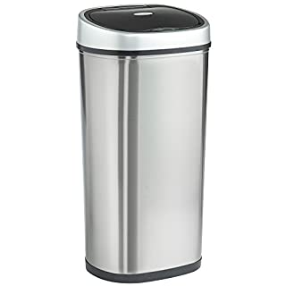 VonHaus Sensor Bin for Kitchen Waste | Automatic LED Motion Detection Lid | 50L Rubbish Capacity | Robust Metal Body with Stainless Steel Finish