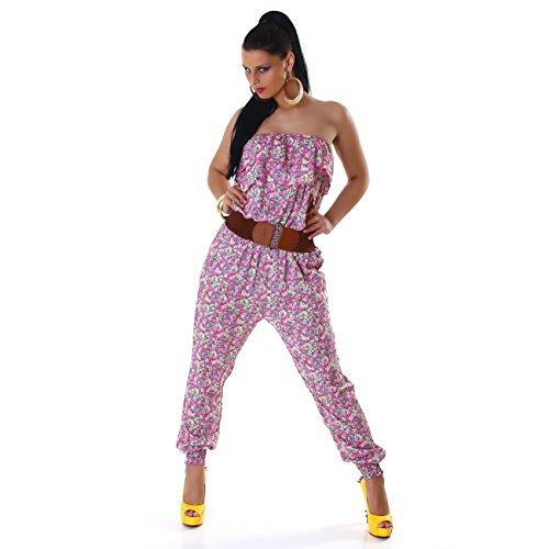 Damen Overall Jumpsuit Bodysuit Hausanzug Einteiler Gürtel Volant Rüschen Gummibündchen Blumenmuster Seitentaschen Pink
