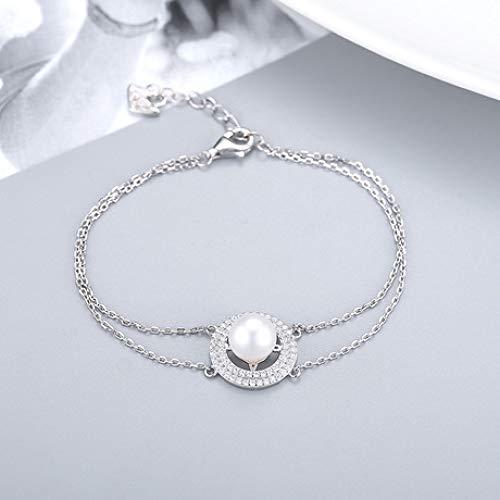 shixiaodan Armreifen,Mode kreative Runde S925 Silber Armband weibliche Perle Schwan Hairies Zubehör
