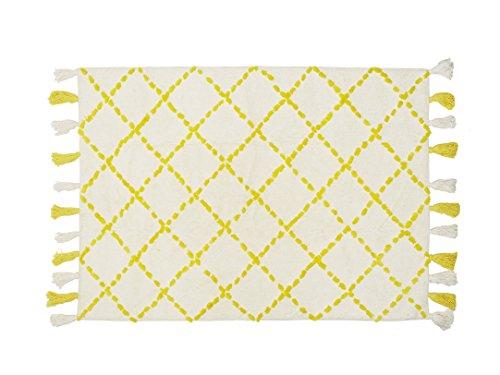 Aratextil. Alfombra Infantil 100% Algodón lavable en lavadora Colección Bereber Tanger Amarillo 120x160 cms